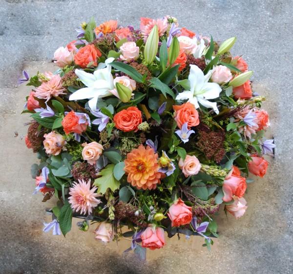 Composition florale obseques_Coussin funéraire_Bouvard Fleurs